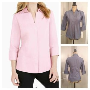 Foxcroft Tops - Foxcroft non-iron fitted shirt sz 2p gray